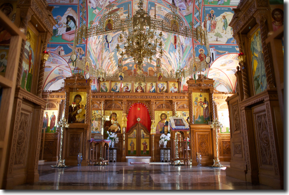 The iconastasis and nave, as you enter the nave.