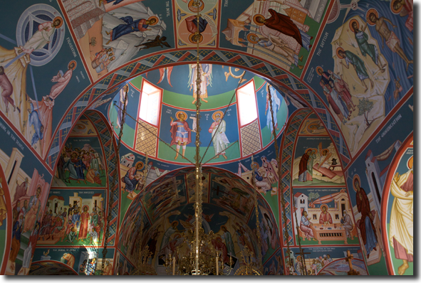 The north apse, showing the icon of the Resurrection, and the other icons on the   ceiling.