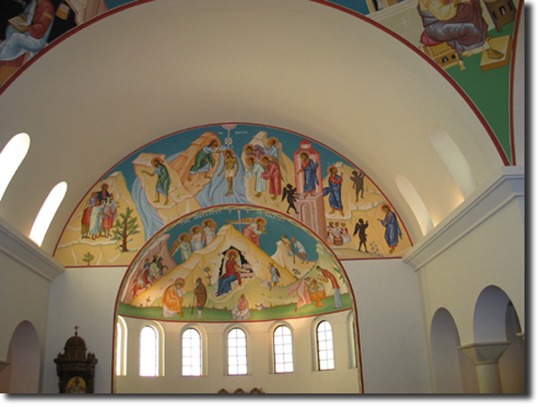A view of the south apse before we began installing icons on the     ceiling.