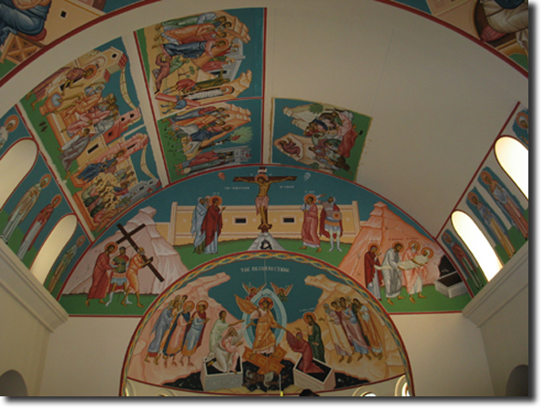 The fifth icon of the Passion has been glued to the ceiling.