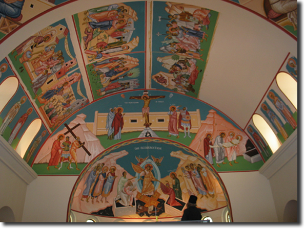 The sixth icon of the Passion has been glued to the ceiling.