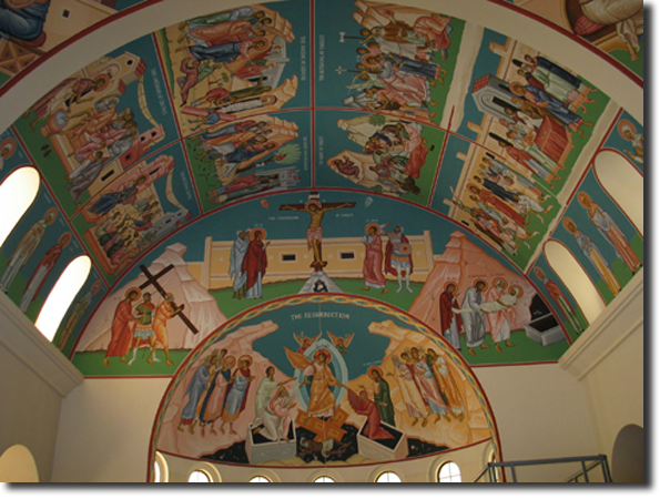 All of the icons are up in the north apse, and we are in the   process of finishing them.