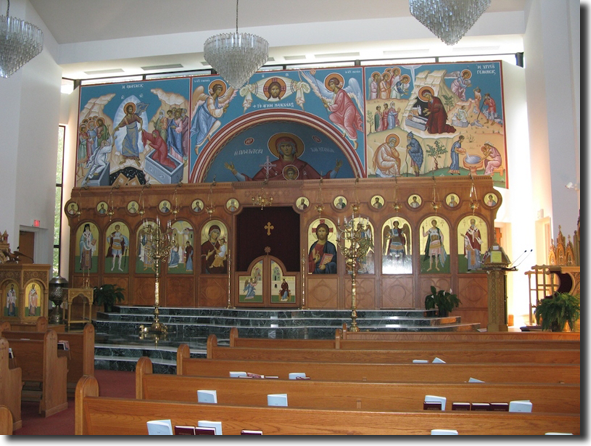 The Iconostasion and Sanctuary.