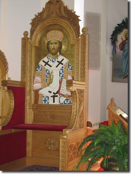 Christ, the Great High Priest, depicted in the Bishop's   Throne.